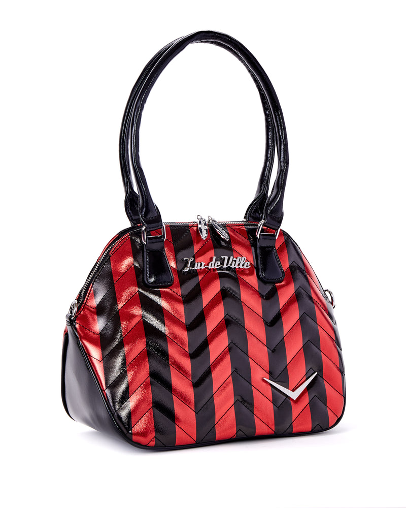 Chevron Queen Red Metallic with Black Stripes - Mini Atomic Totes