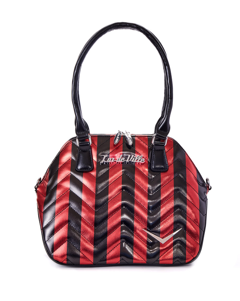 Chevron Queen Red Metallic Handbag with Black Stripes - Mini Atomic Totes