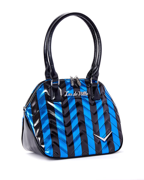 Chevron Queen Blue Metallic with Black Stripes - Mini Atomic Totes