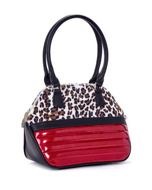 Dame Sizzle Pink Sparkle Handbag with Brown Leopard - Mini Atomic Totes