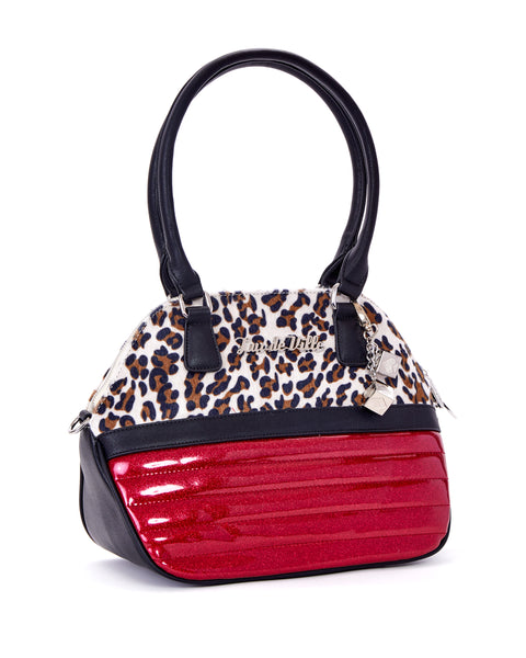 Dame Tote Sizzle Pink Sparkle with Brown Leopard - Mini Atomic Totes