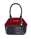 Dame Tote Midnight Sparkle with Red Leopard - Mini Atomic Totes