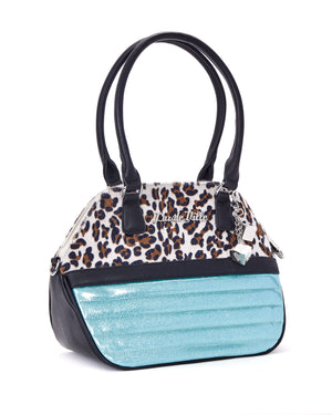 Dame Tote Mermaid Blue Sparkle with Brown Leopard - Mini Atomic Totes