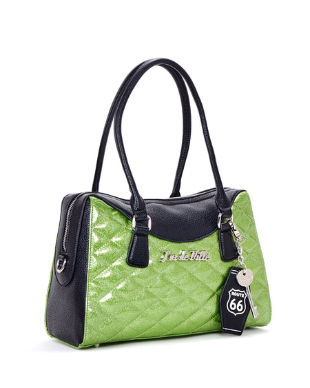 Route 66 Tote Black Matte and Mermaid Blue Sparkle