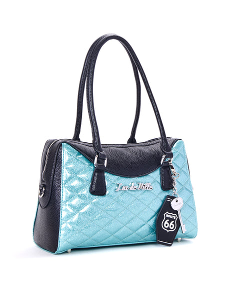 Dame Tote Mermaid Blue Sparkle with Brown Leopard