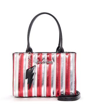 Bad Reputation Tote Silver and Red Metallic - Mini Atomic Totes