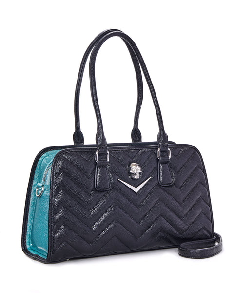Hellraiser Tote Black and Mermaid Blue Sparkle - Mini Atomic Totes