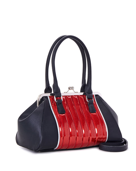 V8 Kiss Lock Black Matte with Red Venom Sparkle - Mini Atomic Totes