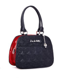 Skull and Roses Tote Black Matte with Venom Red Sparkle - Mini Atomic Totes