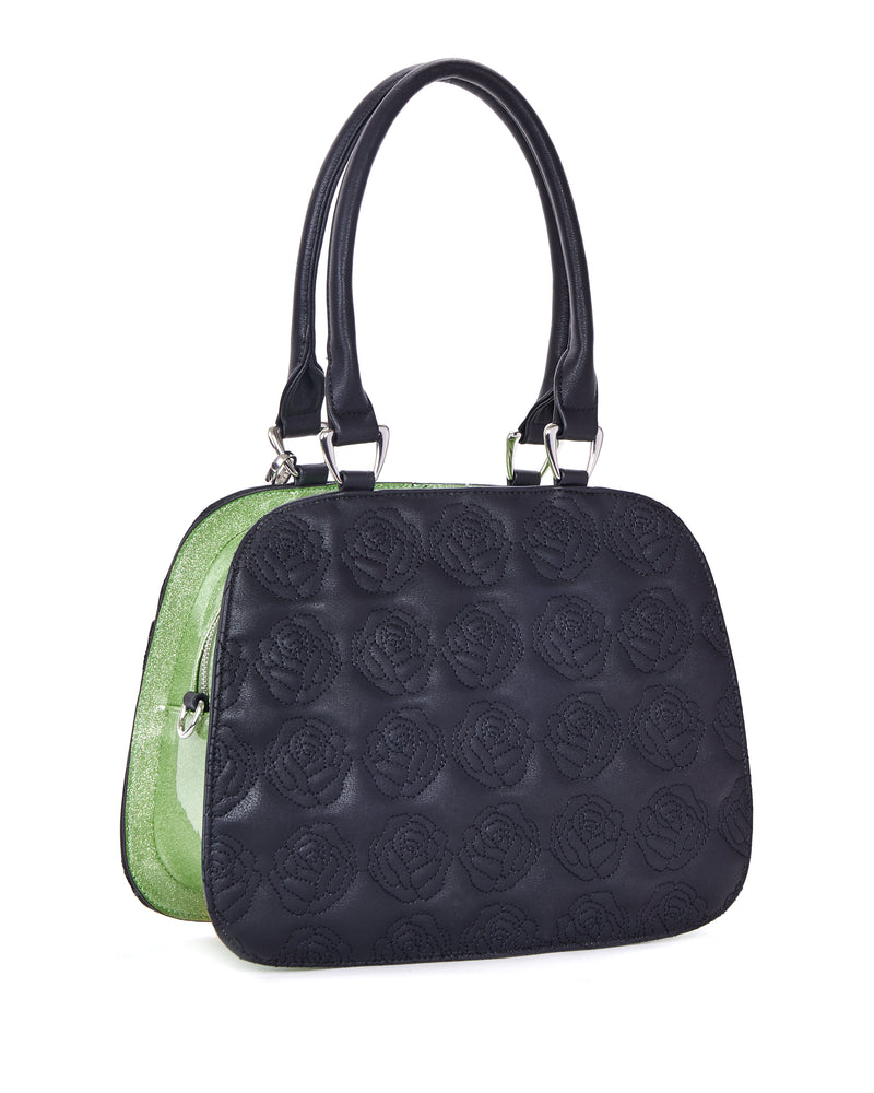 Skull and Roses Handbag Black Matte with Emerald City Sparkle - Mini Atomic Totes