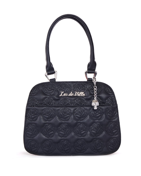 Skull and Roses Tote Black Matte with Brown Leopard - Mini Atomic Totes
