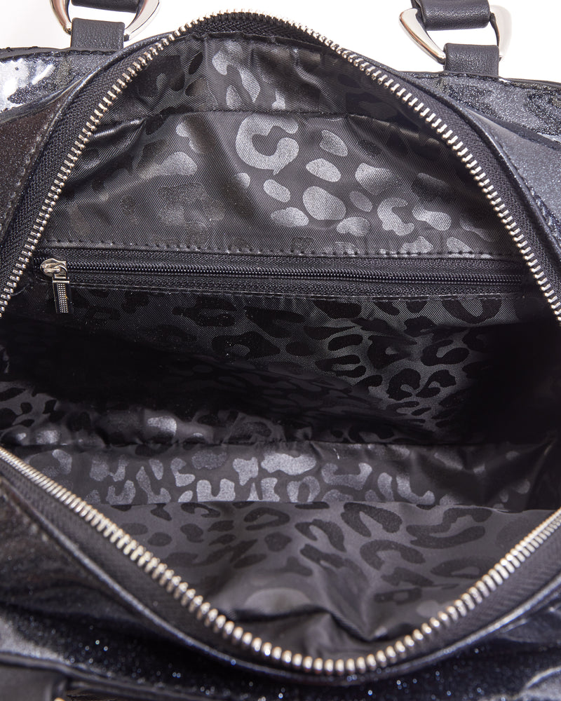 Skull and Roses Tote Black Matte with Emerald City Sparkle - Mini Atomic Totes