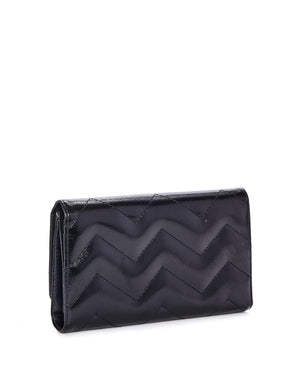 Chevron Queen Black Metallic Wallet - Mini Atomic Totes