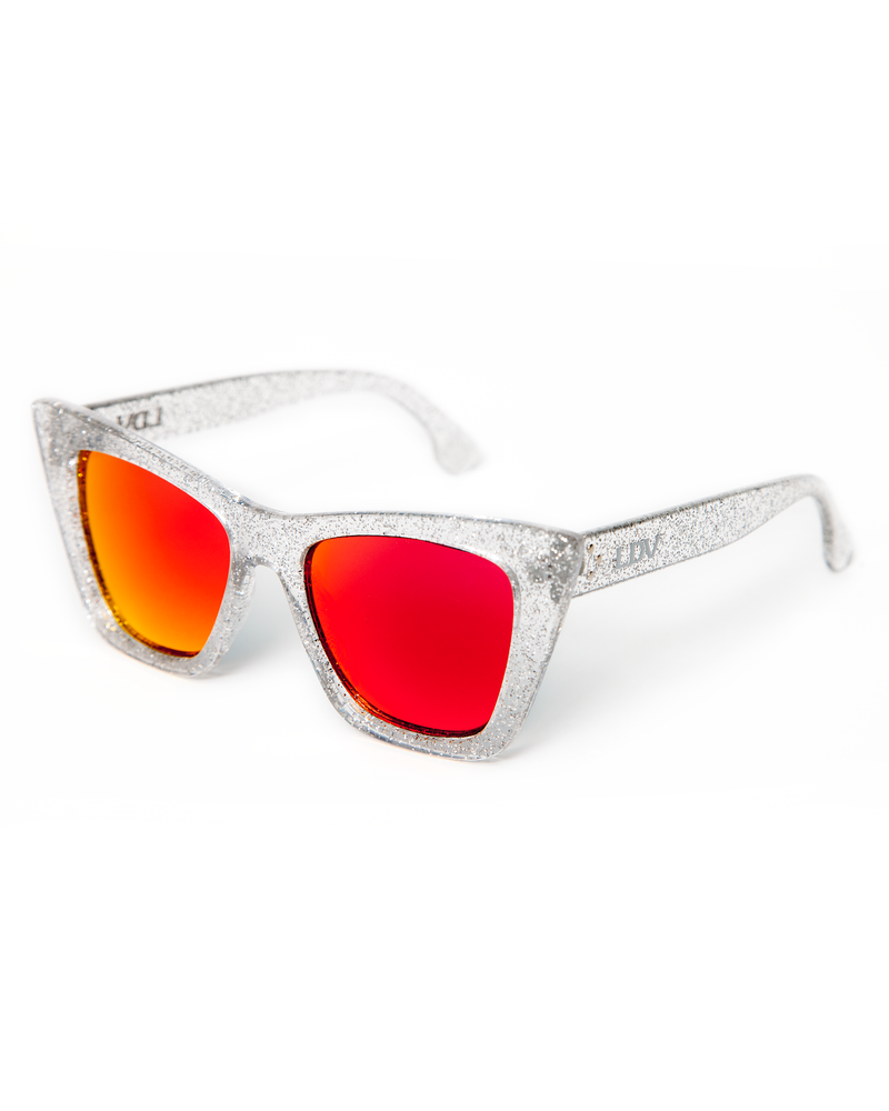 Bewitched Sunglasses Silver Glitter Frame with Red Mirror Lens - Mini Atomic Totes