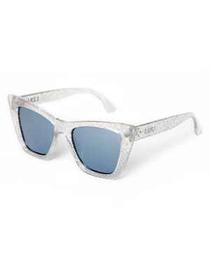 Bewitched Sunglasses Silver Glitter Frame with Silver Mirror Lens - Mini Atomic Totes