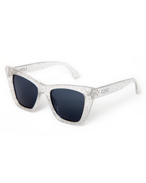 Bewitched Sunglasses Silver Glitter Frame with Black Smoke Lens - Mini Atomic Totes