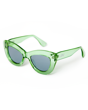 Smitten Sunglasses Green Crystal Frame with Silver Mirror Lens - Mini Atomic Totes