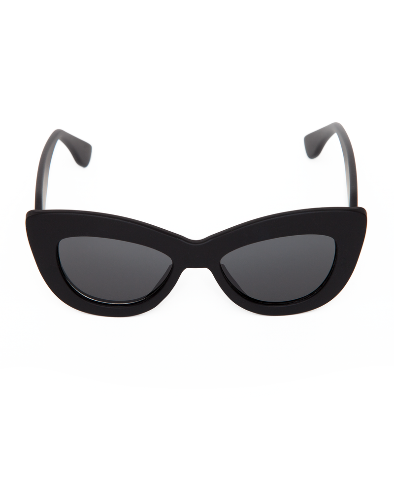 Smitten Sunglasses Matte Black Frame with Black Smoke Lens - Mini Atomic Totes