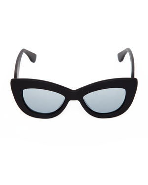Smitten Sunglasses Matte Black Frame with Silver Mirror Lens - Mini Atomic Totes