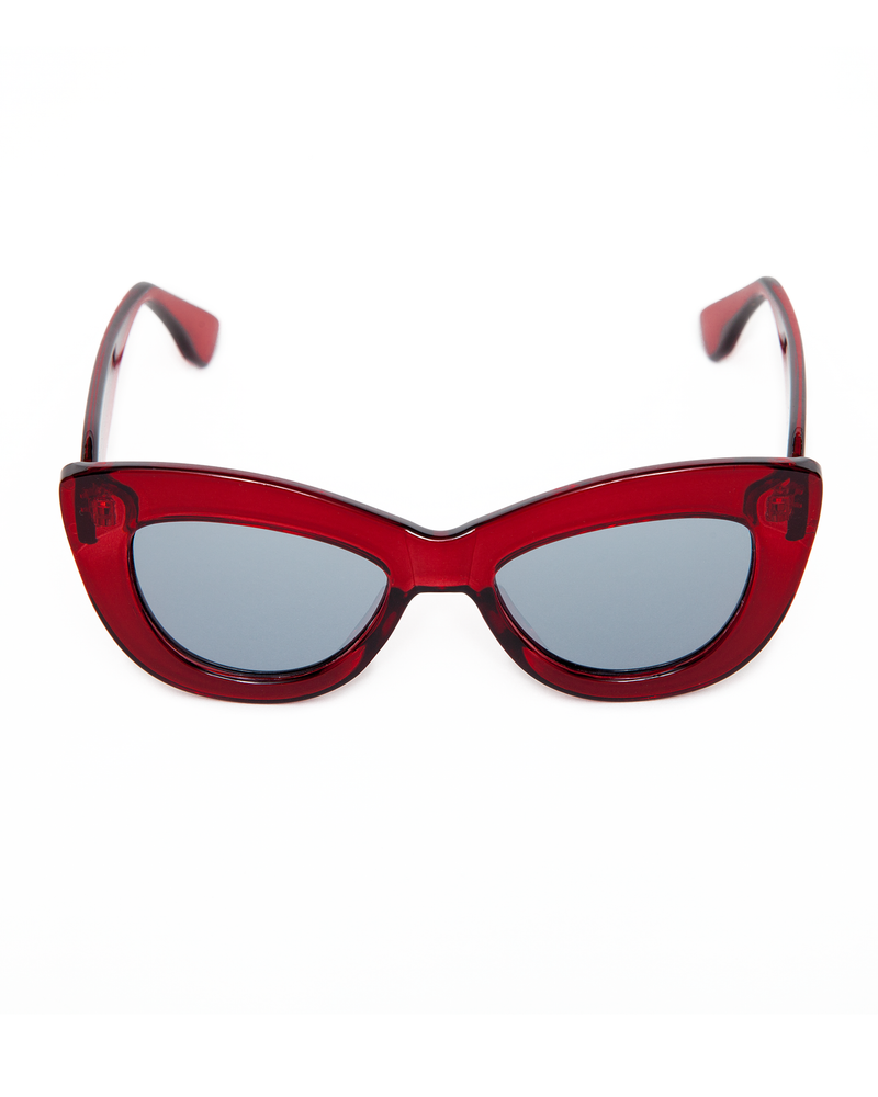 Smitten Sunglasses Red Crystal Frame with Silver Mirror Lens - Mini Atomic Totes
