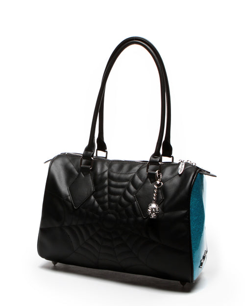 Black Widow Large Tote Black Matte and Villain Blue Sparkle
