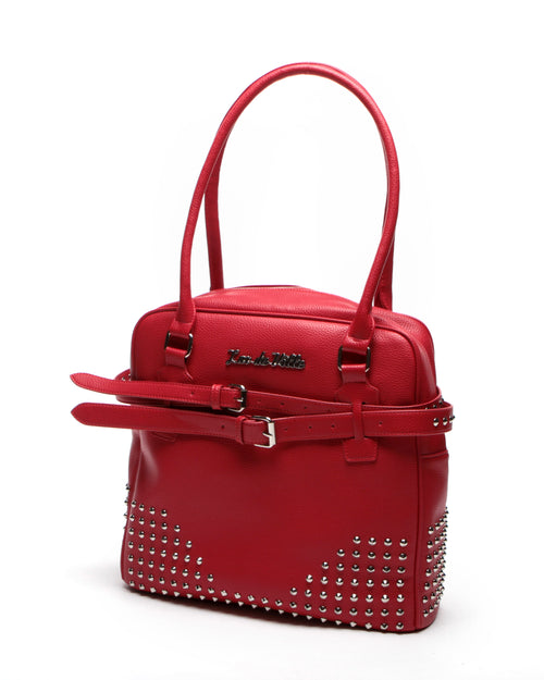 Carly Deville Large Studded Tote Red Matte