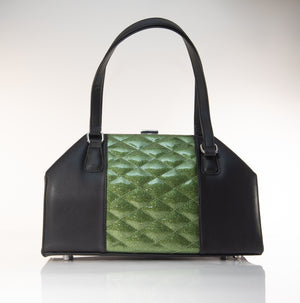 Cha Cha Kiss Lock Handbag Black and Martini Green Sparkle - Mini Atomic Totes