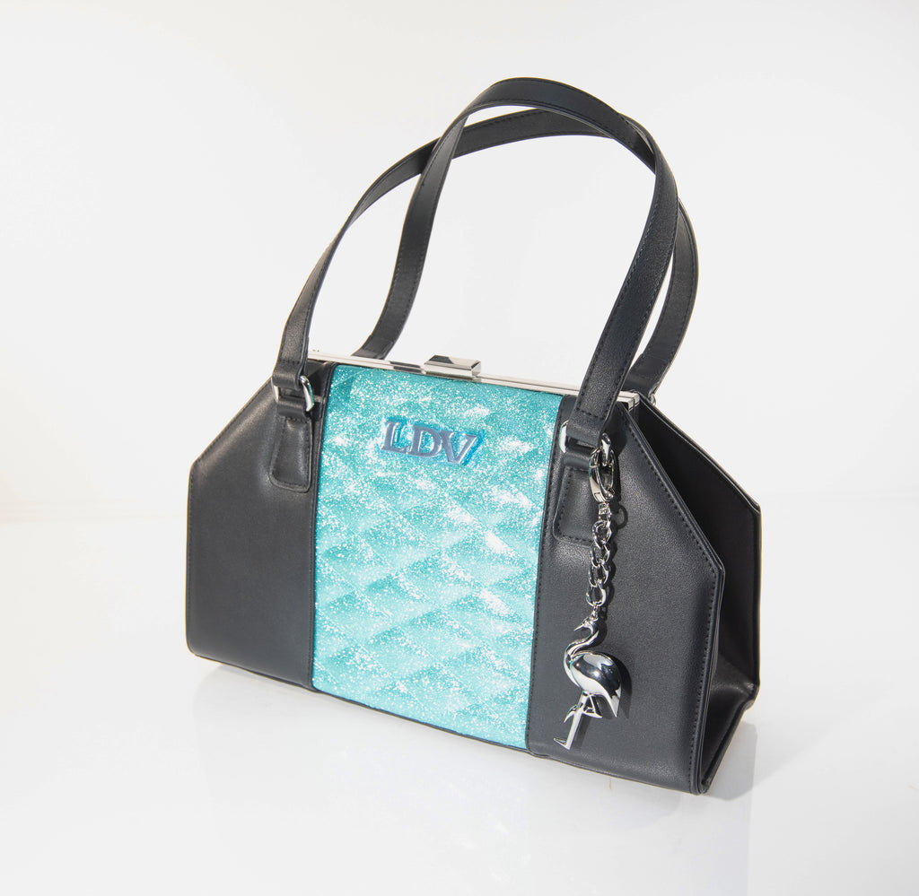 Cha Cha Kiss Lock Handbag Black and Mermaid Blue Sparkle - Mini Atomic Totes