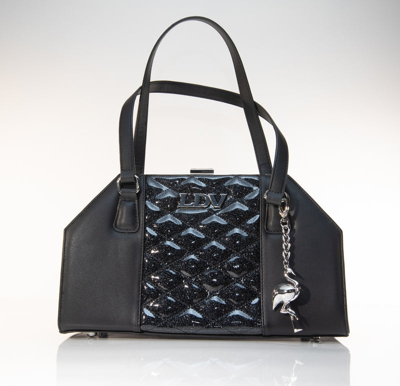 Cha Cha Kiss Lock Handbag Black and Midnight Sparkle - Mini Atomic Totes