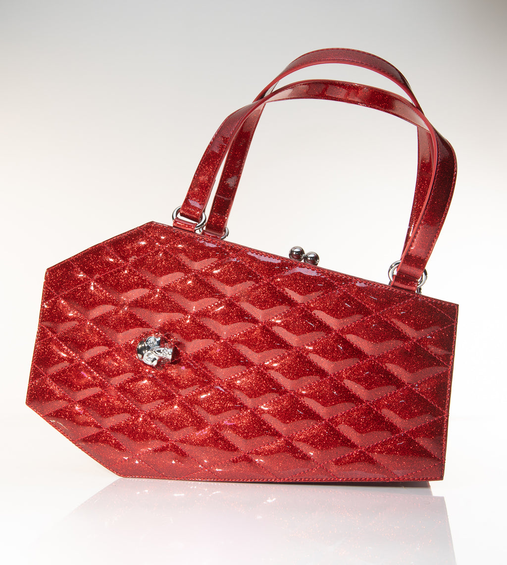 Coffin Kiss Lock Handbag Crimson Red Sparkle - Mini Atomic Totes