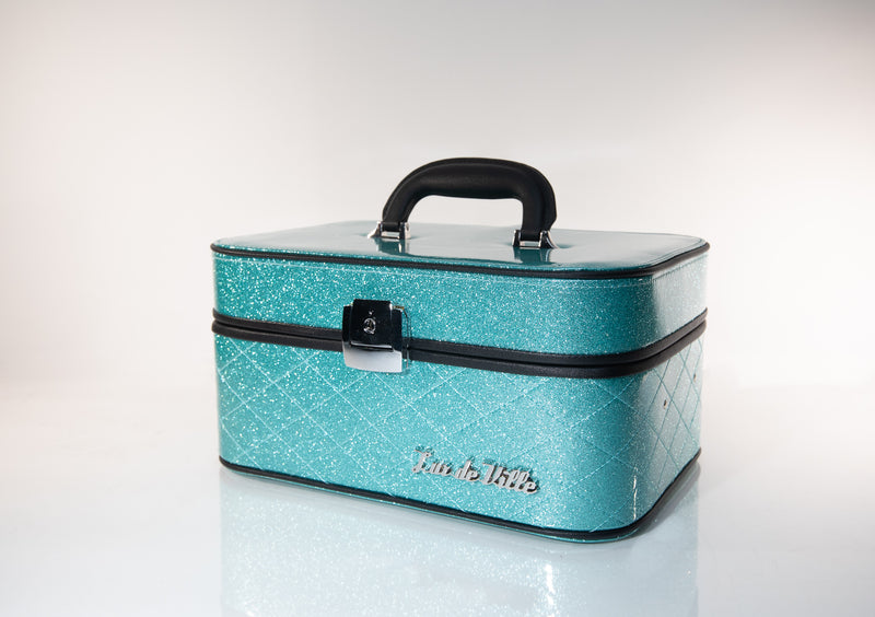 Go Go Vanity Case Mermaid Blue Sparkle - Mini Atomic Totes