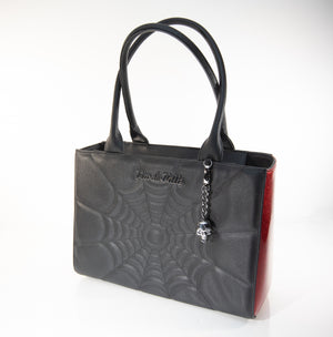 Itsy Bitsy Tote Black and Crimson Red Sparkle - Mini Atomic Totes