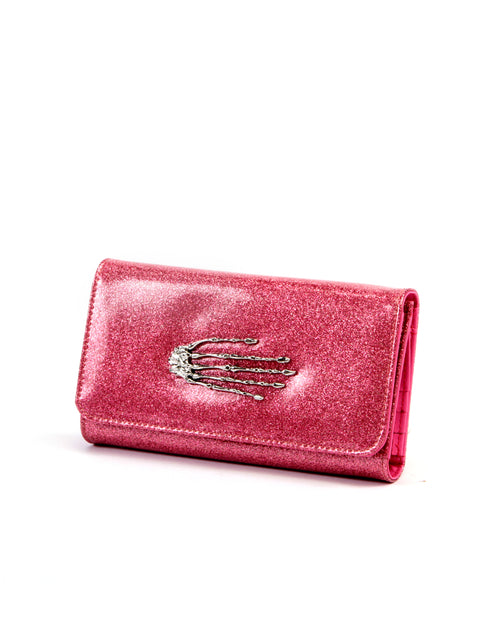 Skeleton Hand Wallet Pink Bubbly Sparkle