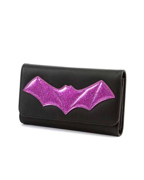 After Midnight Wallet Black and Electric Purple Sparkle