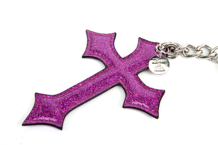 Sparkle Vinyl Cross Bauble Pink