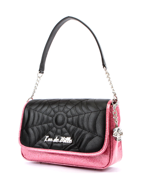 Black Widow Small Tote Matte Black and Pink Bubbly Sparkle