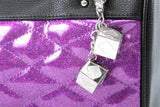 Mini Atomic Tote Matte Black and Electric Purple Sparkle - Mini Atomic Totes
