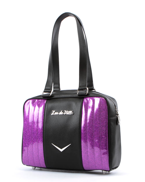 Carry All Tote Matte Black and Electric Purple Sparkle - Mini Atomic Totes