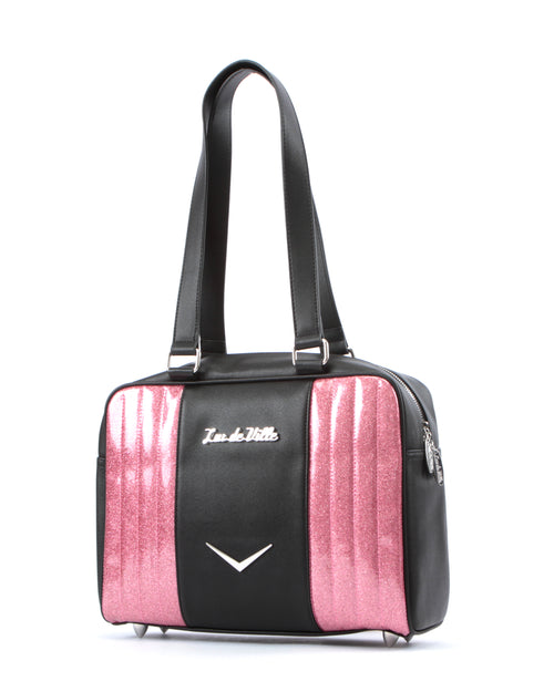 Carry All Tote Matte Black and Pink Bubbly Sparkle - Mini Atomic Totes