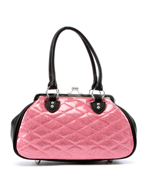 Sin City Kiss Lock Matte Black and Pink Bubbly Sparkle - Mini Atomic Totes
