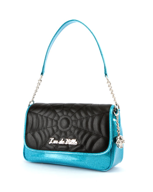 Black Widow Small Tote Matte Black and Villain Blue Sparkle - Mini Atomic Totes