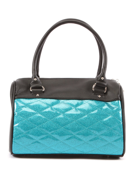 Mini Atomic Tote Matte Black and Villain Blue Sparkle - Mini Atomic Totes