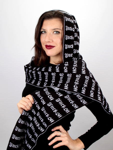 Fuck Off Hoodie Scarf Black and White - Mini Atomic Totes