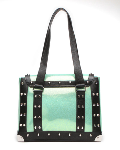 Mini Weekender Black Matte with Baby Green Sparkle - Mini Atomic Totes