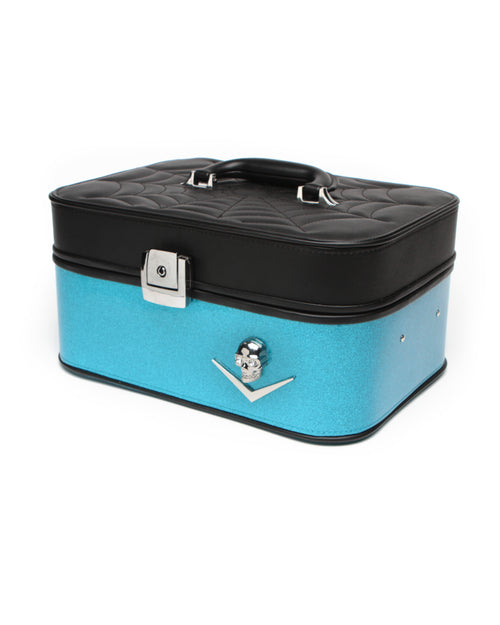Elvira Vanity Case Black Matte and Villain Blue Sparkle - Mini Atomic Totes