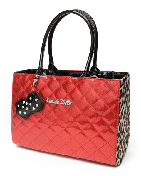 Lucky Me Tote Red Sparkle and Leopard - Mini Atomic Totes