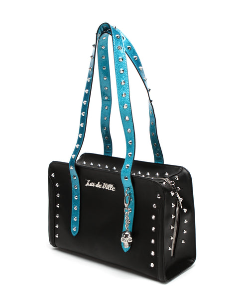 Troublemaker Tote Small Black Matte Villain Blue Sparkle - Mini Atomic Totes