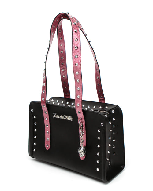 Troublemaker Tote Small Black Matte Pink Bubbly Sparkle - Mini Atomic Totes