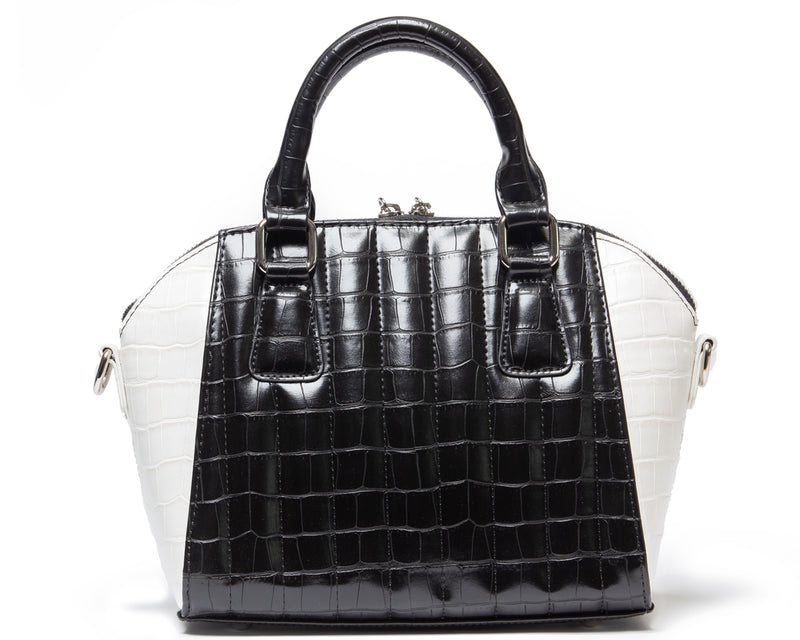 Faux Black and White Crocodile Mini Lady Vamp - Mini Atomic Totes