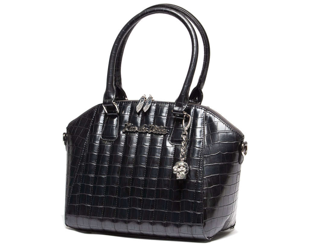 Black Faux Crocodile Lady Vamp Handbag - Mini Atomic Totes